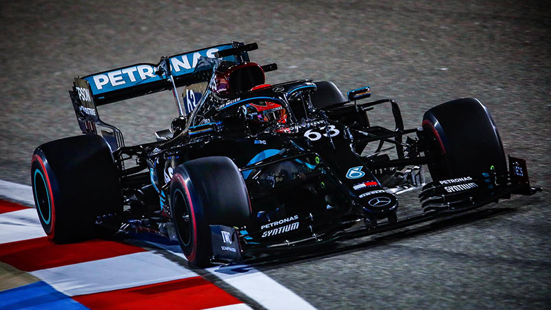 SAKHIR GP FP2 RUSSELL LEADS SESSION FROM VERSTAPPEN AND PEREZ